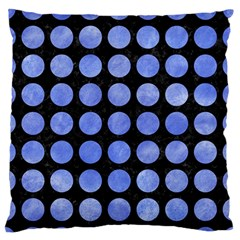 Circles1 Black Marble & Blue Watercolor Large Flano Cushion Case (two Sides) by trendistuff