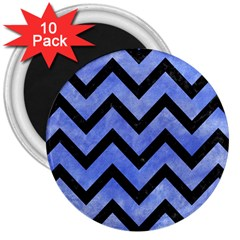 Chevron9 Black Marble & Blue Watercolor (r) 3  Magnet (10 Pack) by trendistuff