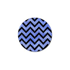 Chevron9 Black Marble & Blue Watercolor (r) Golf Ball Marker (4 Pack) by trendistuff