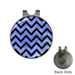 Chevron9 Black Marble & Blue Watercolor (r) Golf Ball Marker Hat Clip by trendistuff