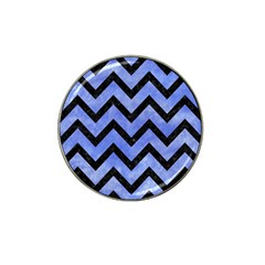 Chevron9 Black Marble & Blue Watercolor (r) Hat Clip Ball Marker by trendistuff