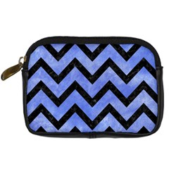Chevron9 Black Marble & Blue Watercolor (r) Digital Camera Leather Case by trendistuff
