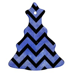 Chevron9 Black Marble & Blue Watercolor (r) Christmas Tree Ornament (two Sides) by trendistuff