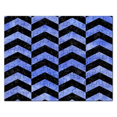 Chevron2 Black Marble & Blue Watercolor Jigsaw Puzzle (rectangular) by trendistuff