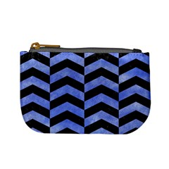 Chevron2 Black Marble & Blue Watercolor Mini Coin Purse by trendistuff