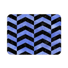 Chevron2 Black Marble & Blue Watercolor Double Sided Flano Blanket (mini) by trendistuff