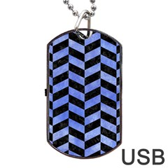 Chevron1 Black Marble & Blue Watercolor Dog Tag Usb Flash (two Sides) by trendistuff