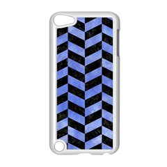 Chevron1 Black Marble & Blue Watercolor Apple Ipod Touch 5 Case (white) by trendistuff