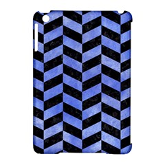 Chevron1 Black Marble & Blue Watercolor Apple Ipad Mini Hardshell Case (compatible With Smart Cover) by trendistuff