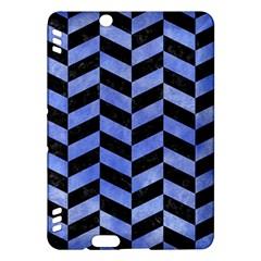 Chevron1 Black Marble & Blue Watercolor Kindle Fire Hdx Hardshell Case by trendistuff