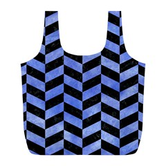 Chevron1 Black Marble & Blue Watercolor Full Print Recycle Bag (l) by trendistuff