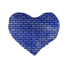 Brick1 Black Marble & Blue Watercolor (r) Standard 16  Premium Flano Heart Shape Cushion  by trendistuff