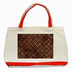 Woven2 Black Marble & Brown Stone (r) Classic Tote Bag (red) by trendistuff