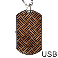 Woven2 Black Marble & Brown Stone (r) Dog Tag Usb Flash (two Sides) by trendistuff