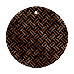Woven2 Black Marble & Brown Stone Ornament (round) by trendistuff