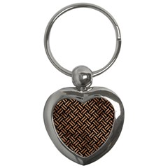 Woven2 Black Marble & Brown Stone Key Chain (heart) by trendistuff