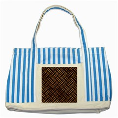 Woven2 Black Marble & Brown Stone Striped Blue Tote Bag by trendistuff
