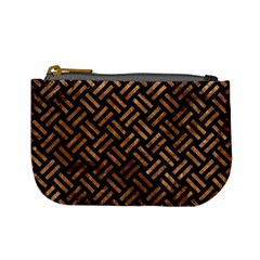 Woven2 Black Marble & Brown Stone Mini Coin Purse by trendistuff