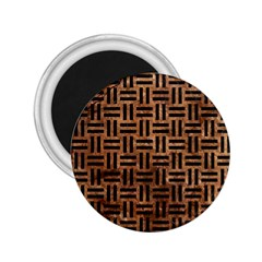 Woven1 Black Marble & Brown Stone (r) 2 25  Magnet by trendistuff