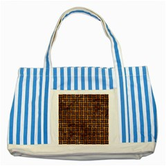 Woven1 Black Marble & Brown Stone (r) Striped Blue Tote Bag by trendistuff