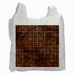 Woven1 Black Marble & Brown Stone (r) Recycle Bag (two Side) by trendistuff