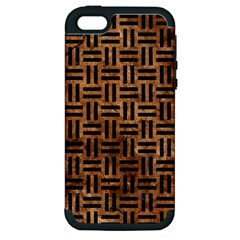 Woven1 Black Marble & Brown Stone (r) Apple Iphone 5 Hardshell Case (pc+silicone) by trendistuff