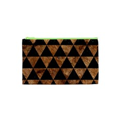 Triangle3 Black Marble & Brown Stone Cosmetic Bag (xs) by trendistuff