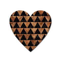 Triangle2 Black Marble & Brown Stone Magnet (heart) by trendistuff