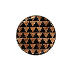 Triangle2 Black Marble & Brown Stone Hat Clip Ball Marker by trendistuff