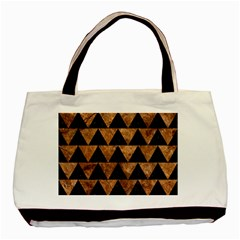 Triangle2 Black Marble & Brown Stone Basic Tote Bag (two Sides) by trendistuff
