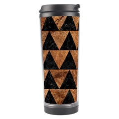 Triangle2 Black Marble & Brown Stone Travel Tumbler by trendistuff