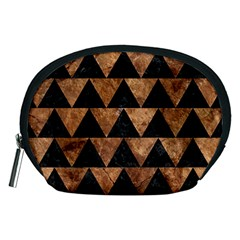 Triangle2 Black Marble & Brown Stone Accessory Pouch (medium) by trendistuff