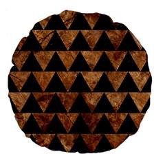 Triangle2 Black Marble & Brown Stone Large 18  Premium Flano Round Cushion  by trendistuff