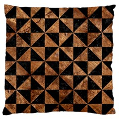 Triangle1 Black Marble & Brown Stone Large Flano Cushion Case (two Sides) by trendistuff