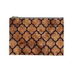 Tile1 Black Marble & Brown Stone (r) Cosmetic Bag (large) by trendistuff