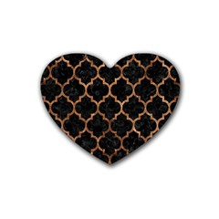 Tile1 Black Marble & Brown Stone Rubber Coaster (heart) by trendistuff