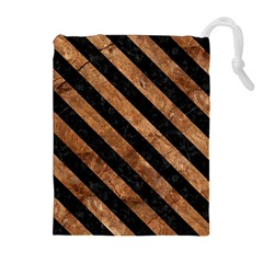 Stripes3 Black Marble & Brown Stone (r) Drawstring Pouch (xl) by trendistuff