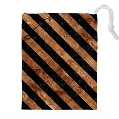 Stripes3 Black Marble & Brown Stone (r) Drawstring Pouch (xxl) by trendistuff
