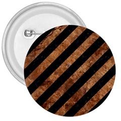 Stripes3 Black Marble & Brown Stone 3  Button by trendistuff