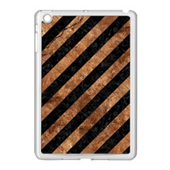 Stripes3 Black Marble & Brown Stone Apple Ipad Mini Case (white) by trendistuff