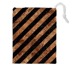 Stripes3 Black Marble & Brown Stone Drawstring Pouch (xxl) by trendistuff