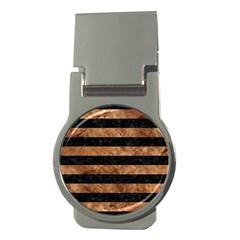Stripes2 Black Marble & Brown Stone Money Clip (round) by trendistuff