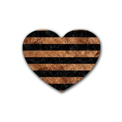 Stripes2 Black Marble & Brown Stone Rubber Coaster (heart) by trendistuff