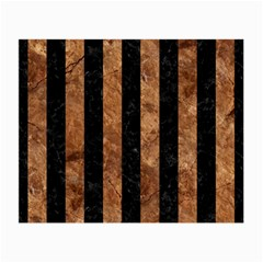 Stripes1 Black Marble & Brown Stone Small Glasses Cloth by trendistuff