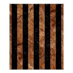 Stripes1 Black Marble & Brown Stone Shower Curtain 60  X 72  (medium) by trendistuff