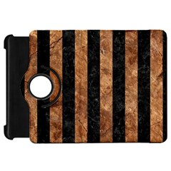 Stripes1 Black Marble & Brown Stone Kindle Fire Hd Flip 360 Case by trendistuff