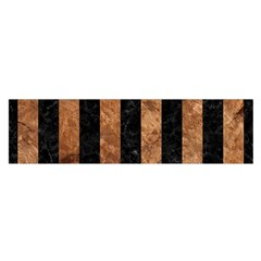 Stripes1 Black Marble & Brown Stone Satin Scarf (oblong) by trendistuff