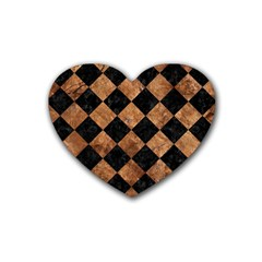 Square2 Black Marble & Brown Stone Rubber Coaster (heart) by trendistuff