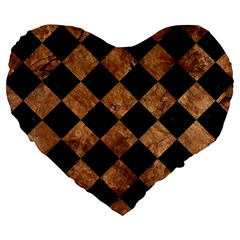 Square2 Black Marble & Brown Stone Large 19  Premium Flano Heart Shape Cushion by trendistuff
