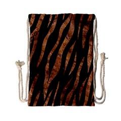 Skin3 Black Marble & Brown Stone Drawstring Bag (small) by trendistuff